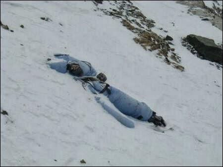 Dead body lying in snow