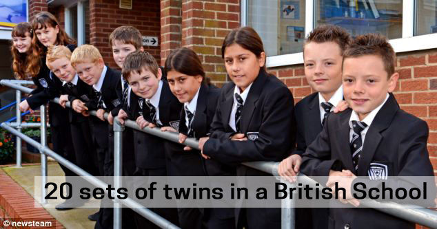 20 sets of twins in a British School