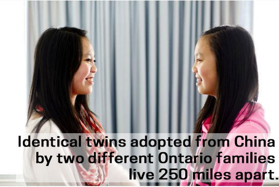 Identical twins adopted from China by two different Ontario families live 250 miles apart.