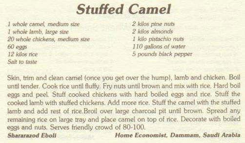 Stuffed Camel Menu