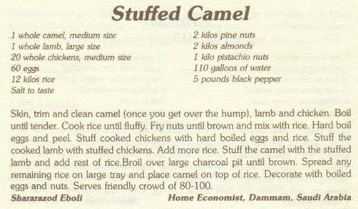Stuffed Camel Menu
