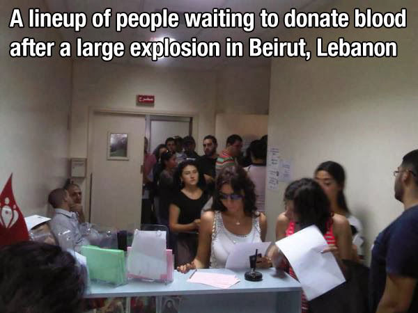When these people stood in line for hours to donate blood to those who needed it most.