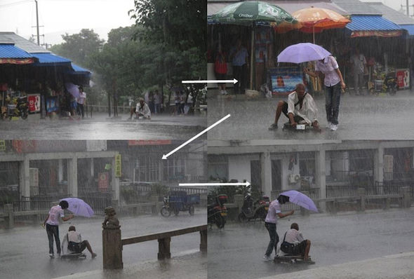 When this girl gave shelter to a man who was disabled on the streets.