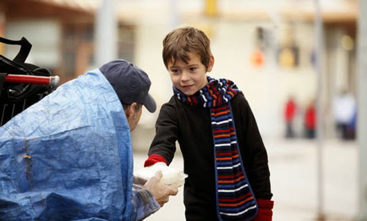When a homeless hungry man on the street got a sandwich from this little boy.