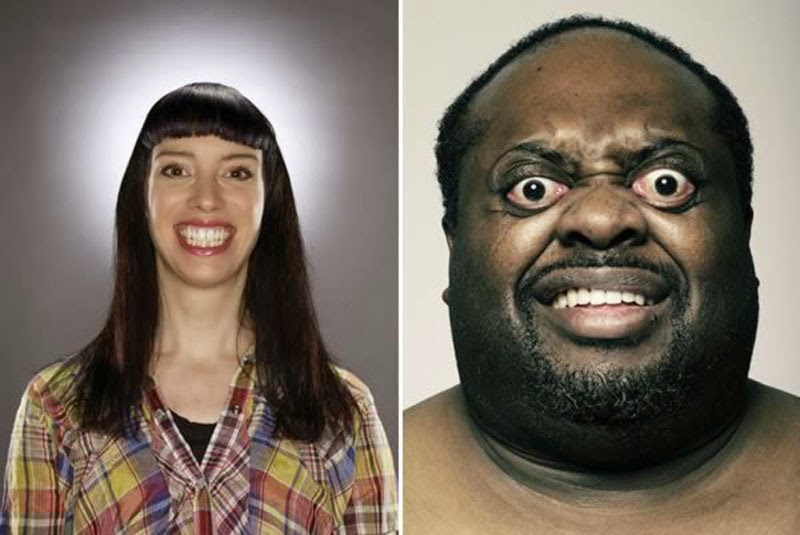 Men and women from an ugly people modeling agency.