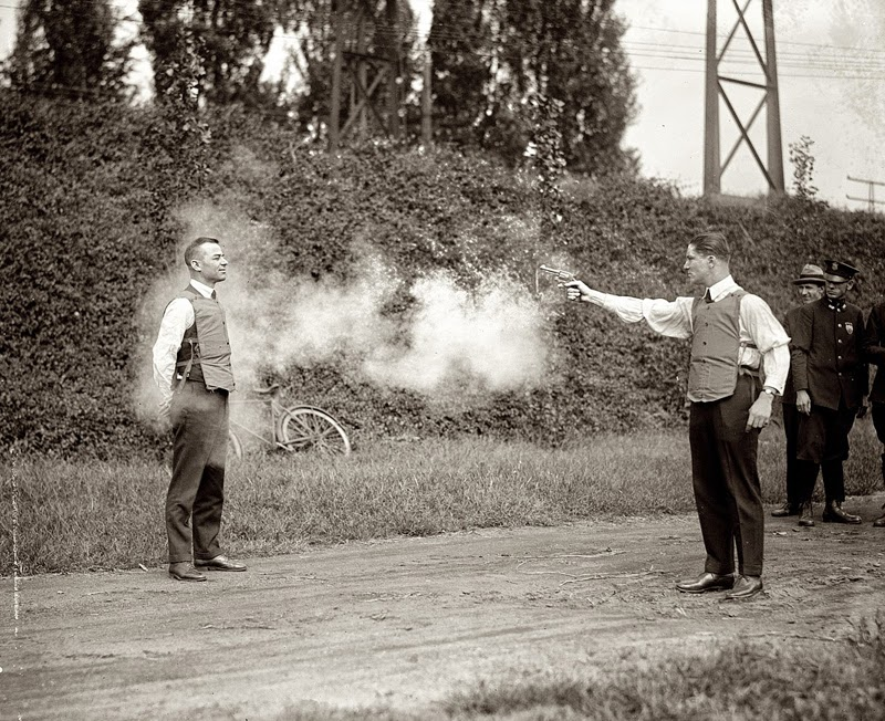 1923, the testing of a bulletproof vest