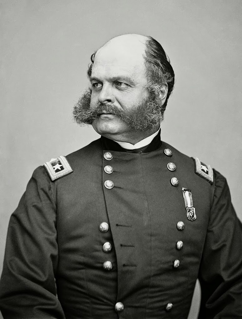 "General Ambrose Burnside of the Civil war: his unusual facial hair led to coining of the word ""sideburns""."