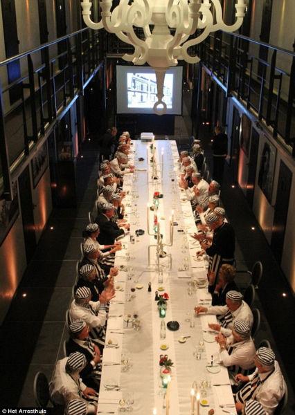 Guests enjoying dinner.