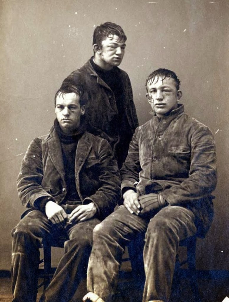 Princeton sophomores after a brutal snowball fight, 1893.
