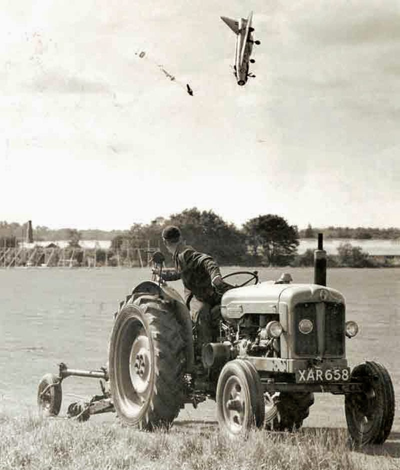 Test pilot George Aird ejected from his English Electric Lightning F1 aircraft.