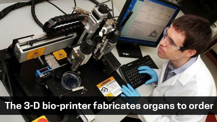 the 3-D bio-printer fabricates organs to order