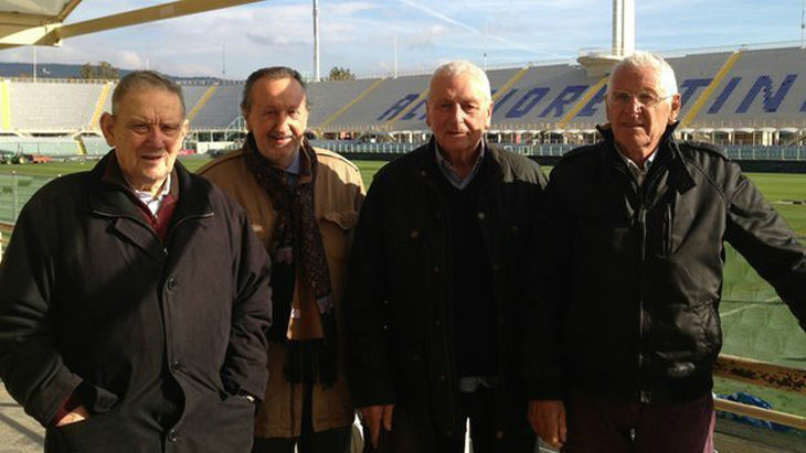 Players Ardico Magnini, Ronaldo Lomi and Romolo Tuci with their fan Gigi Boni (second left), at the ground