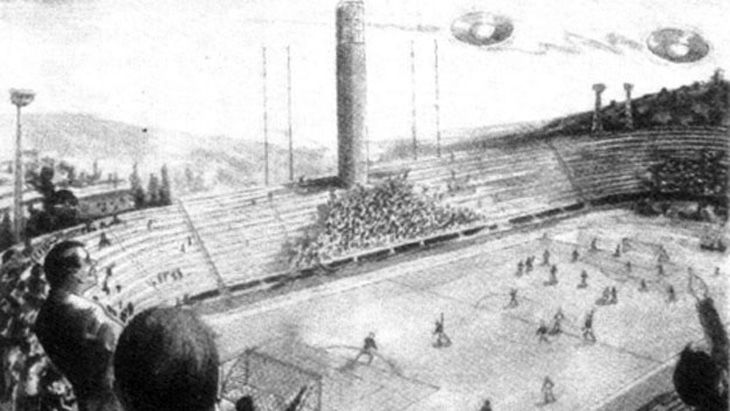 A sketch of UFOs over the stadium by Silvio Neri
