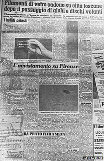 The La Nazione Newspaper article on the UFOs