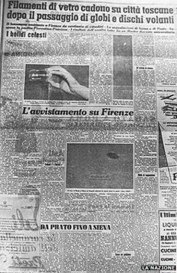 The La Nazione Newspaper article on the UFOs