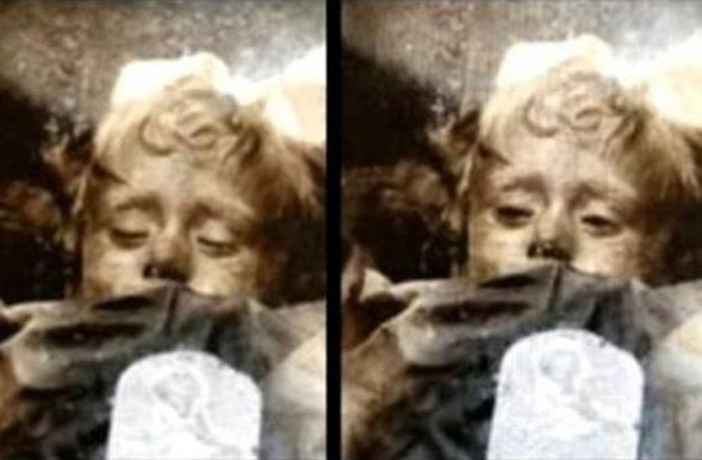 spooky mummified girl in Sicily