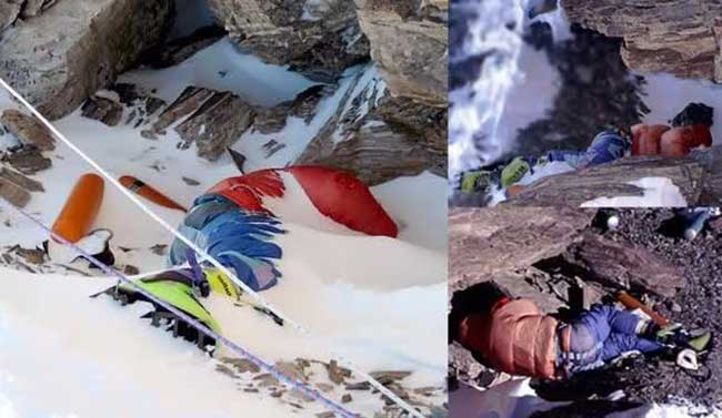 Dead body with green boots on everest