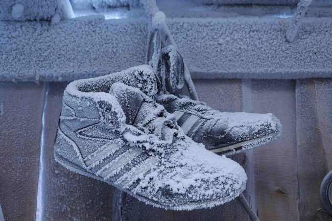 Frozen shoes in Oymyakon