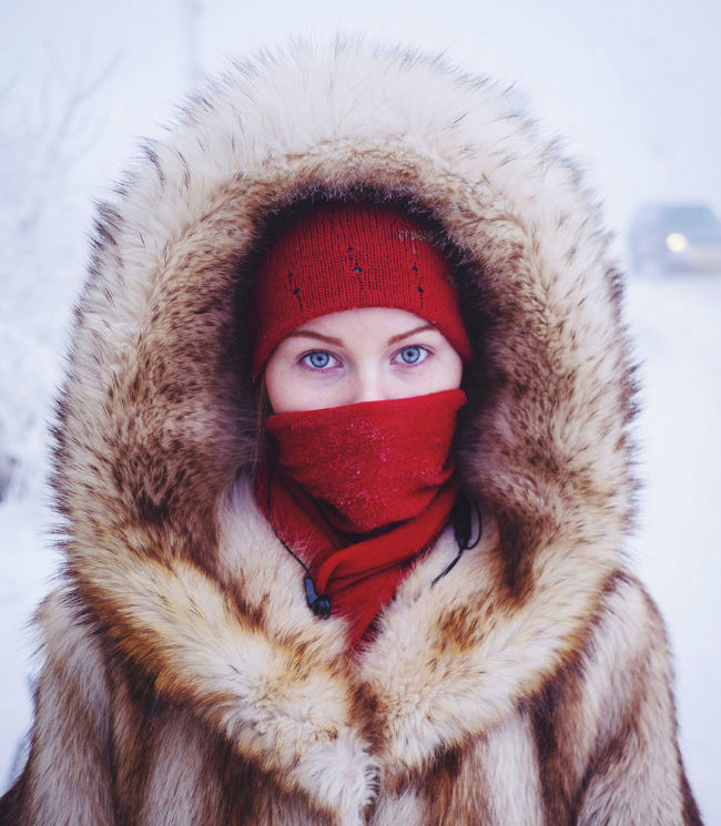 A woman in a parka in Oymyakon