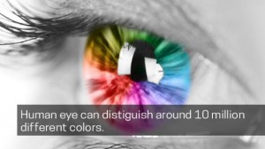 human eye can distiguish around 10 million different colors.