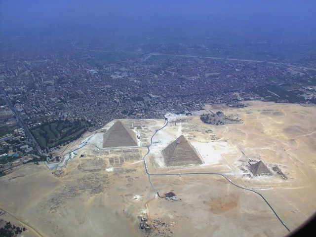 An aerial shot of the Giza Necropolis.