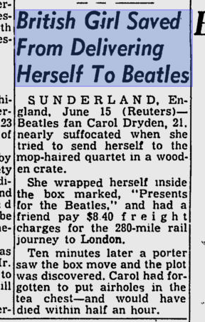 female fan that almost had herself, mailed to the Beatles