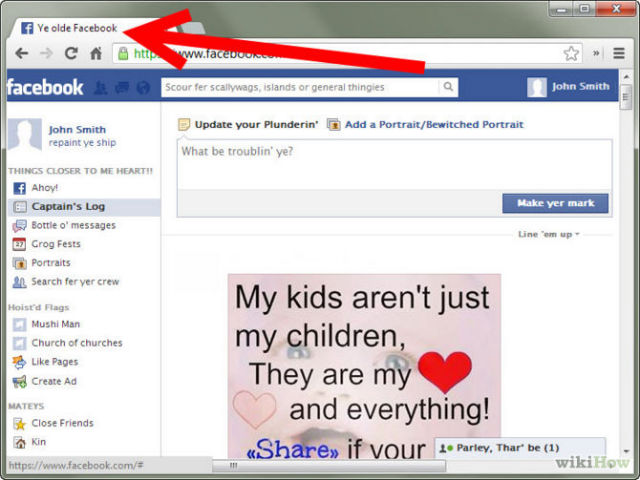 Facebook Speak Pirate