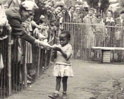 African girl in human zoo