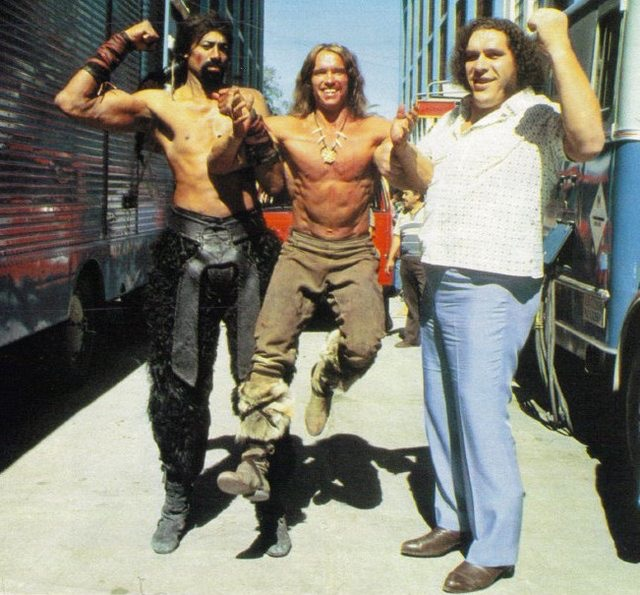 André the Giant with Arnold Schwarzenegger