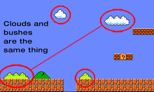 Mario bushes and clouds