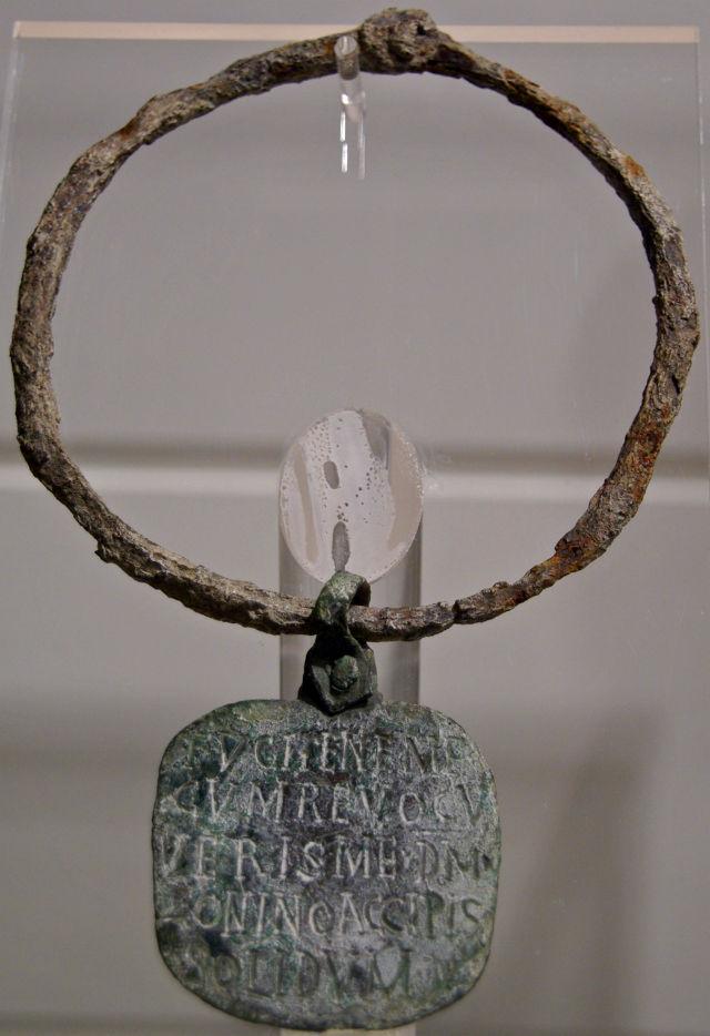 Roman slave collar with inscription