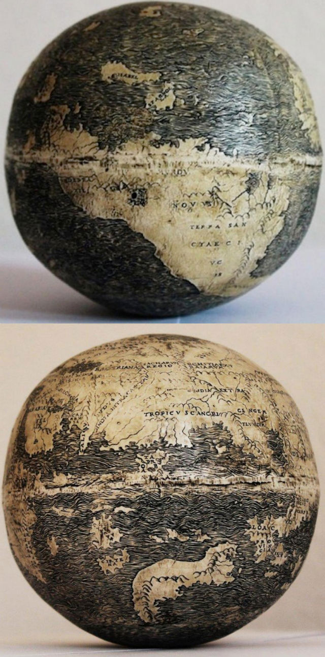 The oldest known globe to depict the Americas