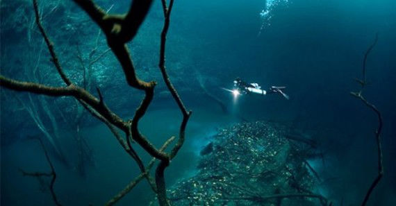 diving at underwater river