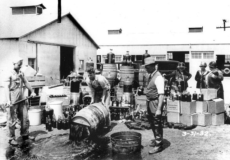 Dumping illegal booze