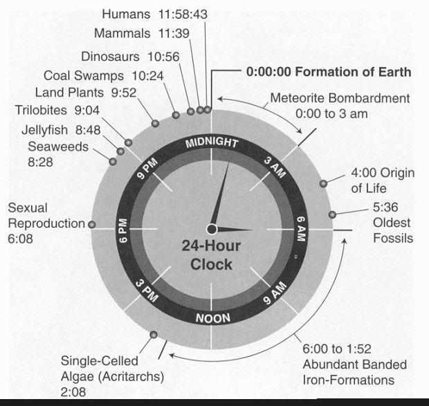 Earth's history into 24 hours