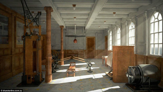 Gym in the new ocean liner
