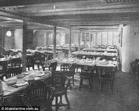 Communal dining hall in Titanic