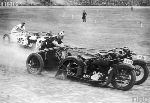 Two Motorcycles Chariot Racing