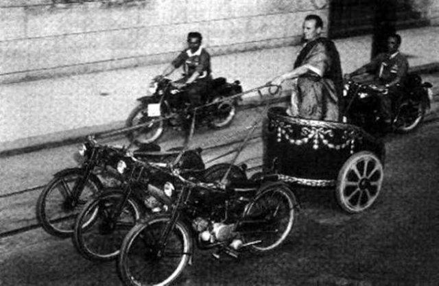 Roman era riding on motorcycle chariot