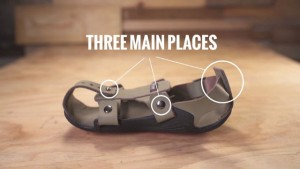 The adjustable areas on the shoe
