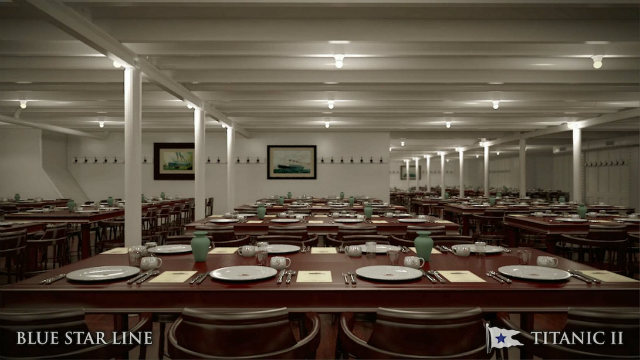 Communal dining hall in Titanic 2