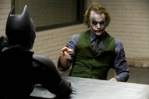 Heath Ledger wanted Christian Bale to hit him as hard as possible in the interrogation scene
