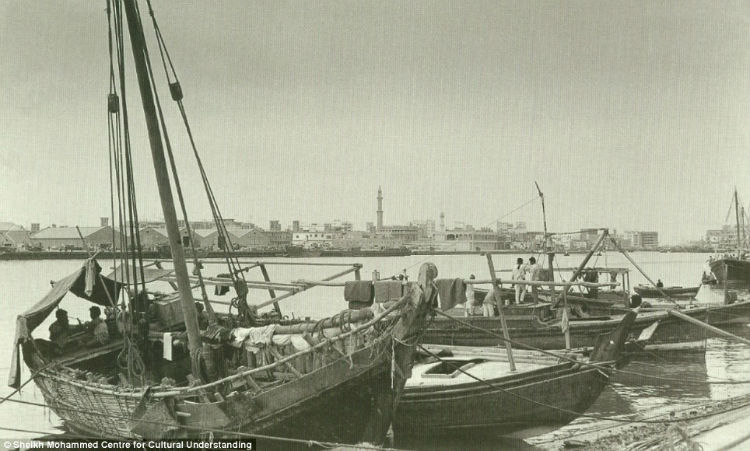 Dhows on the city creek which was once the centre of Dubai's pearl trade