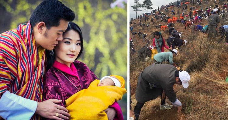 Bhutan planted trees on the birth of prince