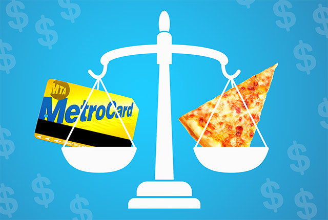 pizza and metro card prices