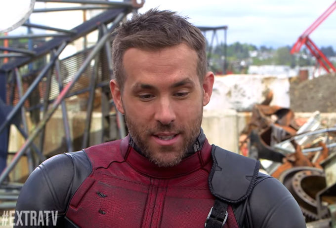 Ryan Reynolds in the Deadpool outfit