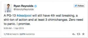 Ryan Tweet on PG13 Deadpool