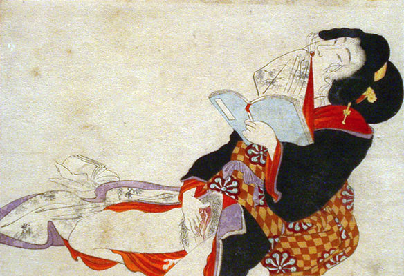 Shunga woman reading