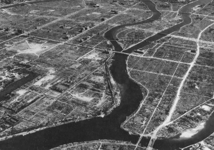 Aerial view of Hiroshima After Bombing