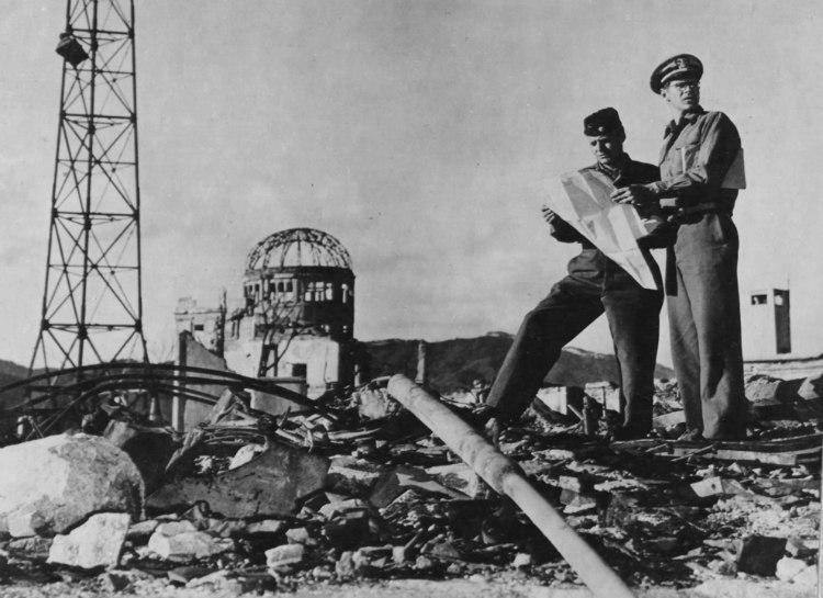US Army Officers Examining Hiroshima Hypocenter
